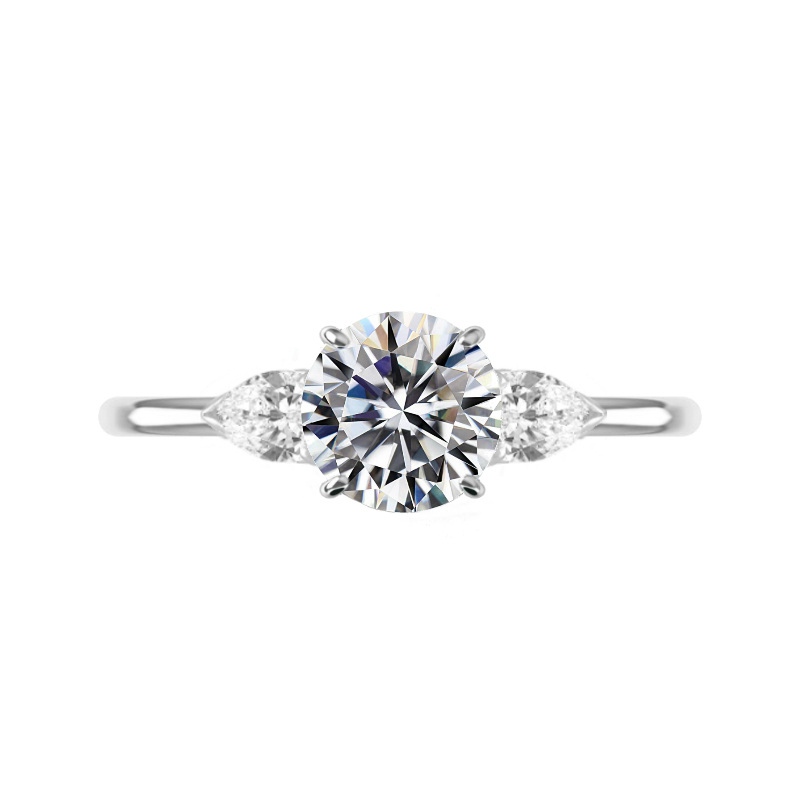 3 Carat Round Moissanite & Pear Diamond Three Stone Ring
