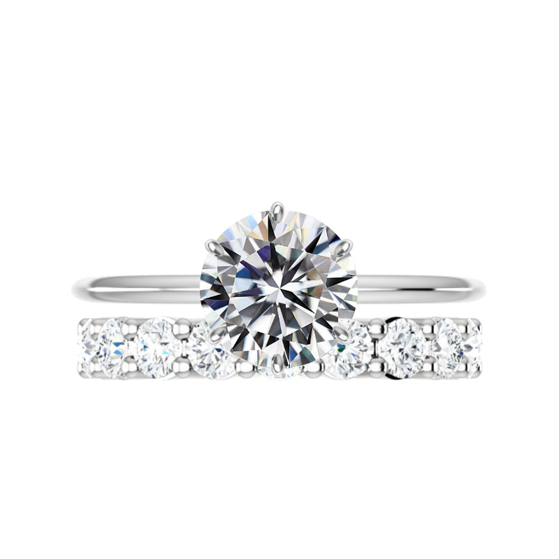 3 ct Moissanite Six Prong Knife Edge Ring & Diamond Band Set