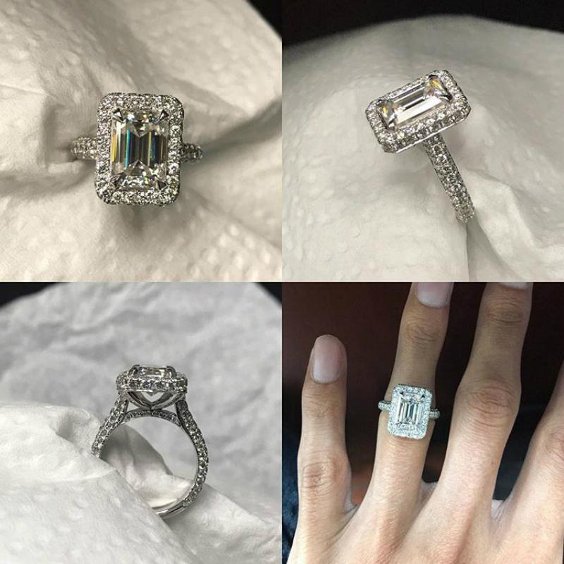 3 Carat Emerald Moissanite & Wide Diamond Double Edge Halo Three Row Ring