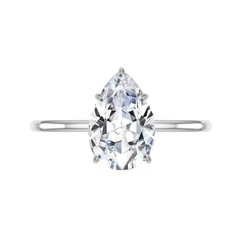 3.50 Carat Pear Moissanite & Diamond Prongs Solitaire Ring