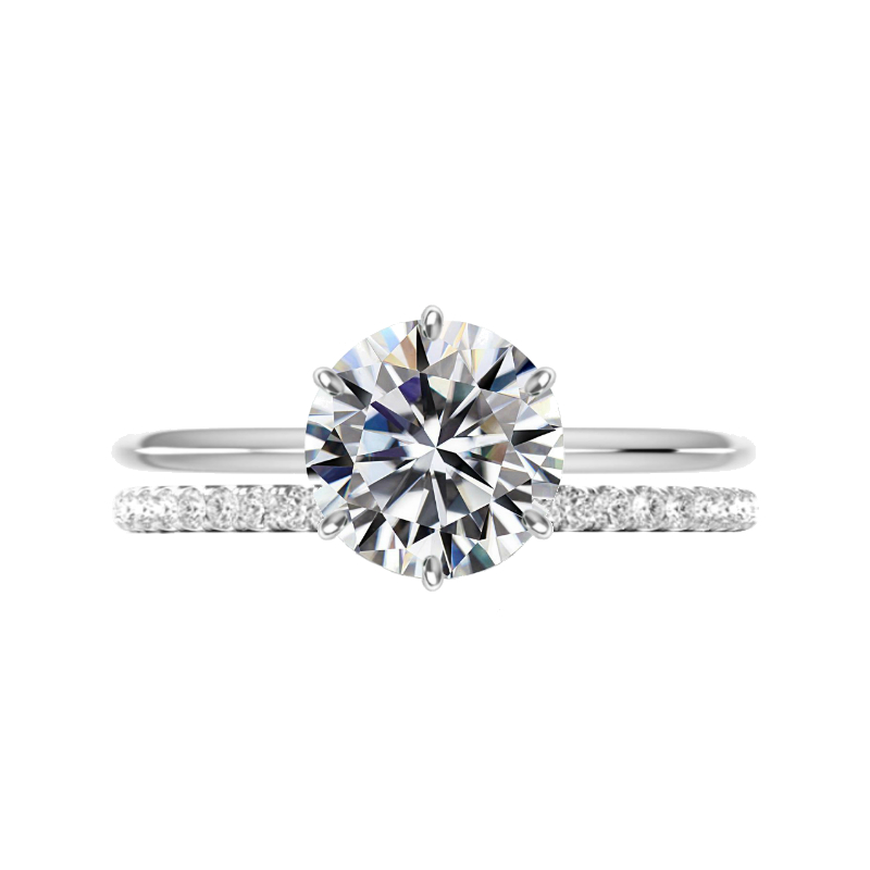 3.50 Carat Moissanite Six Prong Solitaire & Diamond Band Set