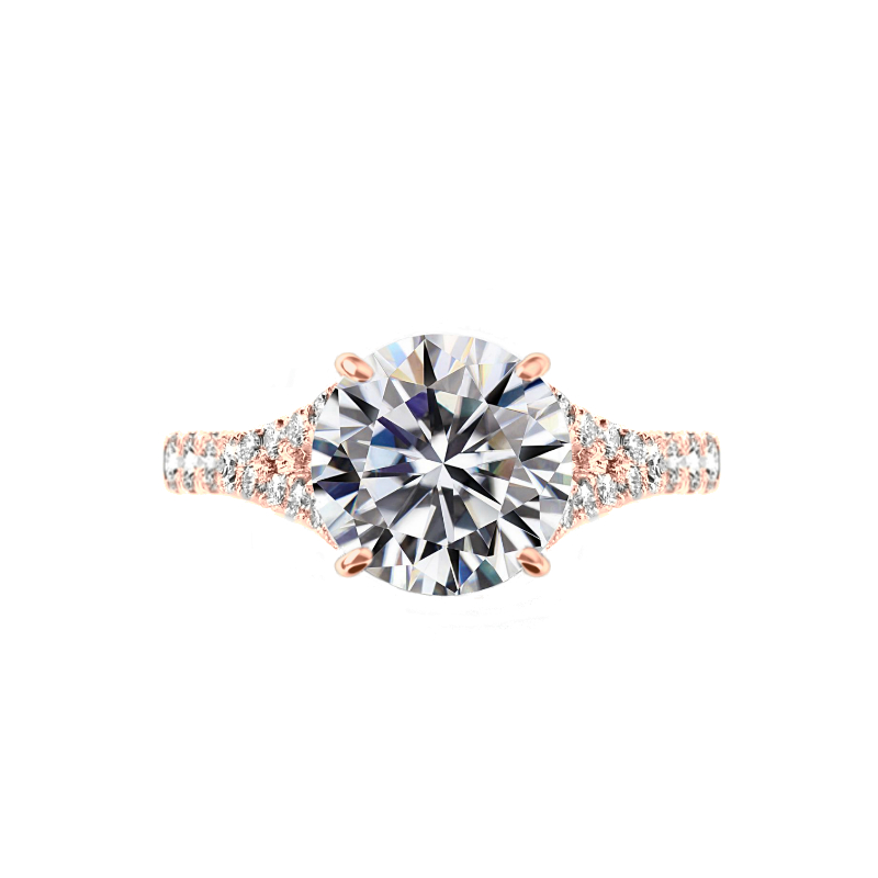 3.50 Carat Round Moissanite & Diamond Hidden Halo Split Shank Ring