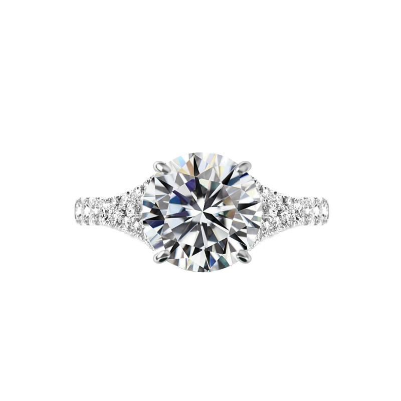 3.50 Carat Round Moissanite & Diamond Hidden Halo Split Shank Ring