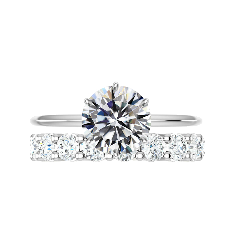 3.50 ct Round Moissanite Six Prong Solitaire & 3.5mm Diamond Eternity Band Set