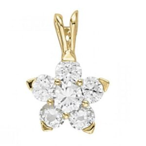 Forever Brilliant Moissanite Cluster Pendant 14k Yellow Gold