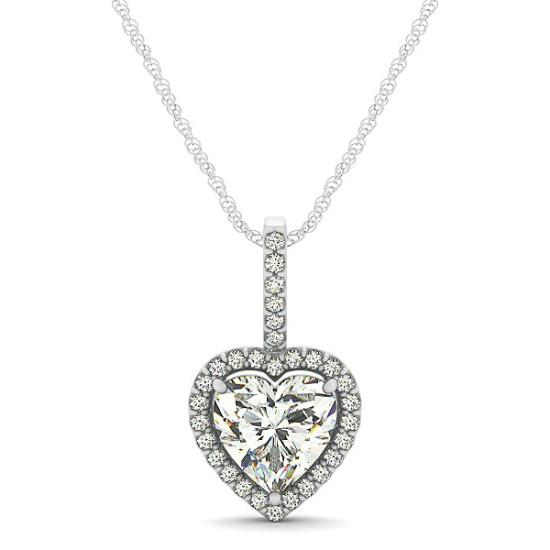 1.00 Carat Heart Diamond & Halo Pendant Necklace