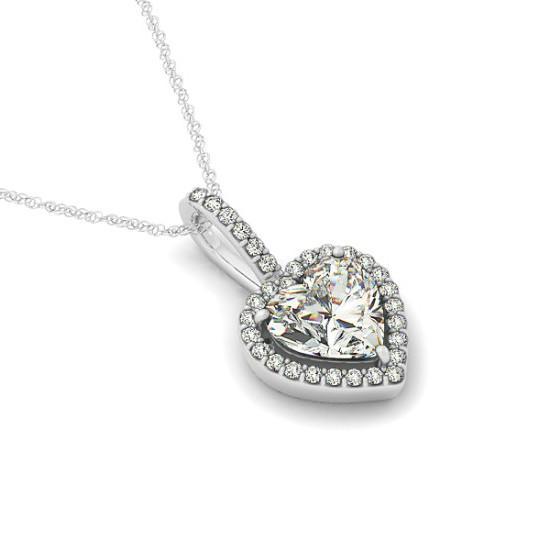 1.00 Carat Heart Diamond & Halo Pendant Necklace