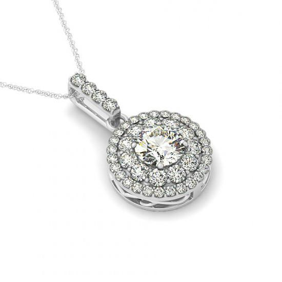 1 Carat Forever One Moissanite & Diamond Halo Pendant Necklace