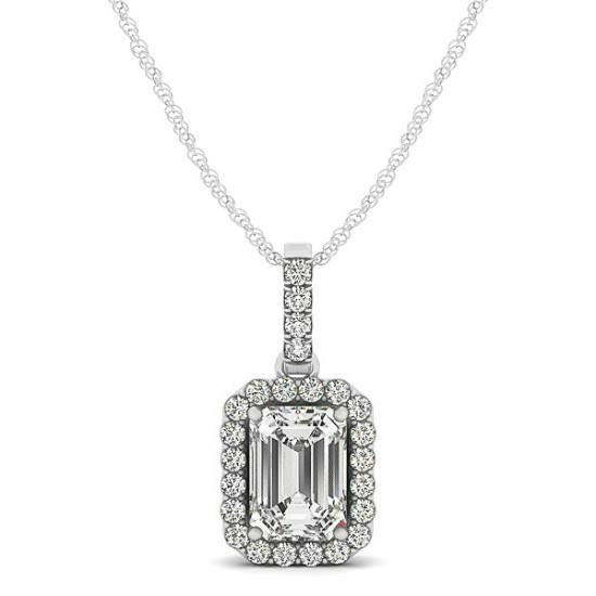 1.00 Carat Emerald Diamond & Halo Pendant Necklace
