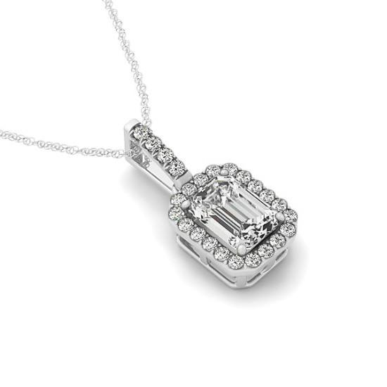 1.00 Carat Emerald Diamond & Halo Pendant Necklace