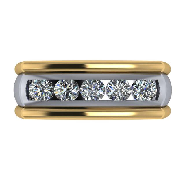 1.25 Carat Diamond Channel Set 14k Two Tone Bar Ring