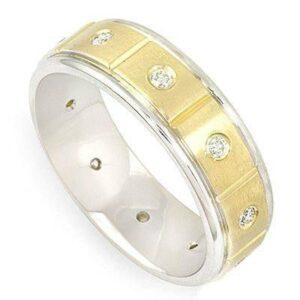 Diamond Bezel 14k Two Tone Men's Ring