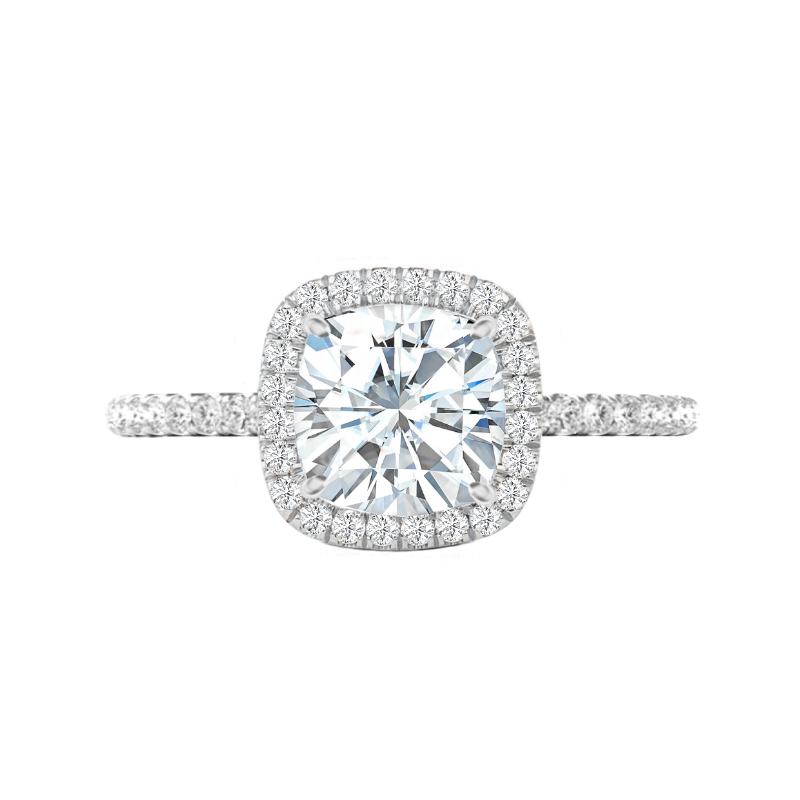 4 Carat Cushion Moissanite & Diamond Halo Ring