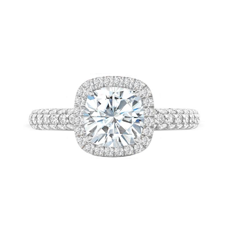 4 Carat Cushion Moissanite & Diamond Double Edge Halo Three Row Pave Ring