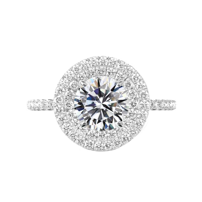 4 Carat Round Moissanite & Diamond Double Halo Ring