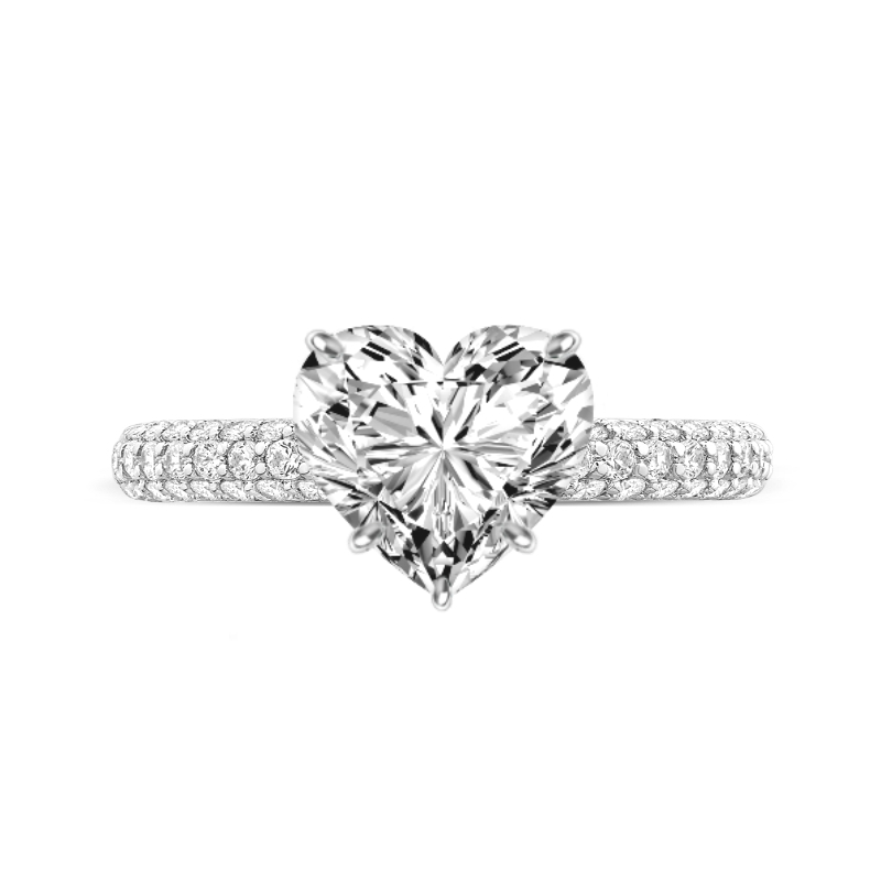 4 Carat Heart Lab Grown Diamond Ring & Diamond Prongs Three Row Pave Ring