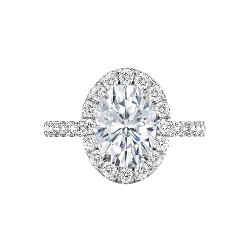4 Carat Oval Forever One Moissanite & 2mm Diamond Halo Engagement Ring
