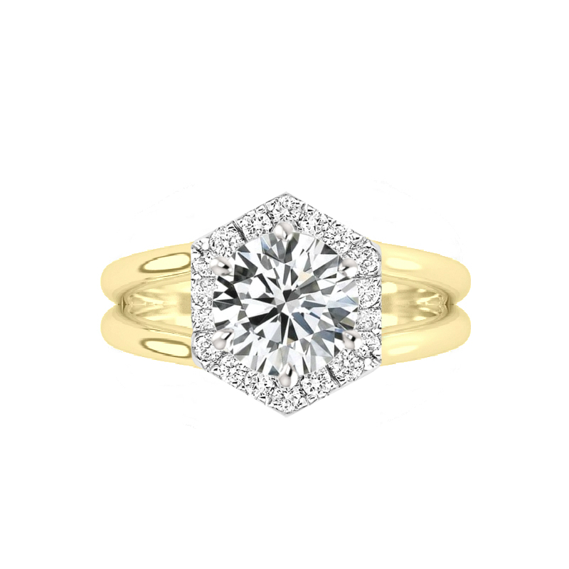 4 Carat Round Moissanite & Diamond Hexagon Halo Split Band Solitaire