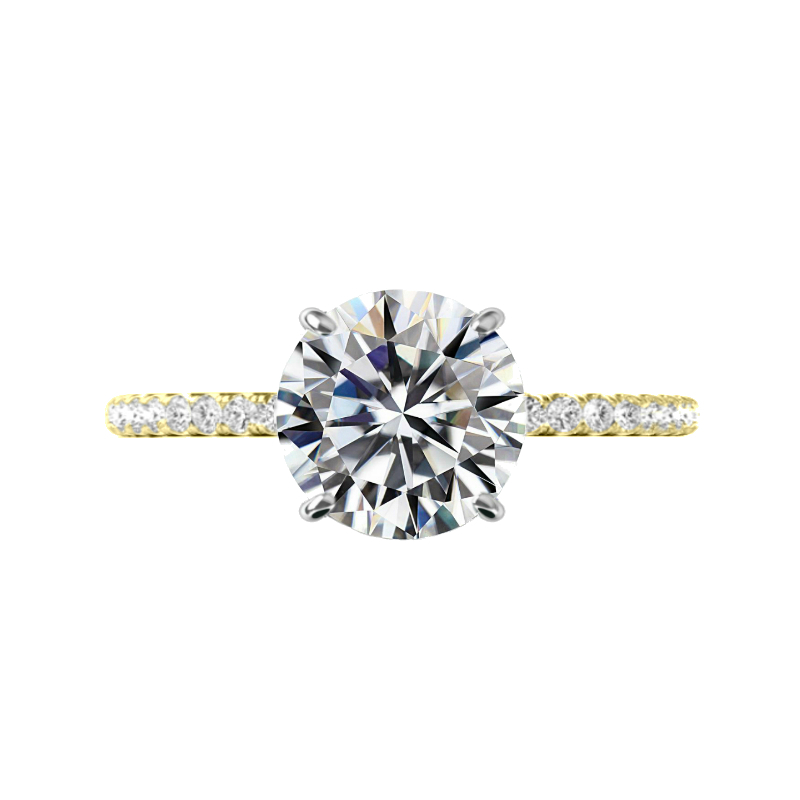 4 ct Round Moissanite & Diamond Hidden Halo Cathedral Ring