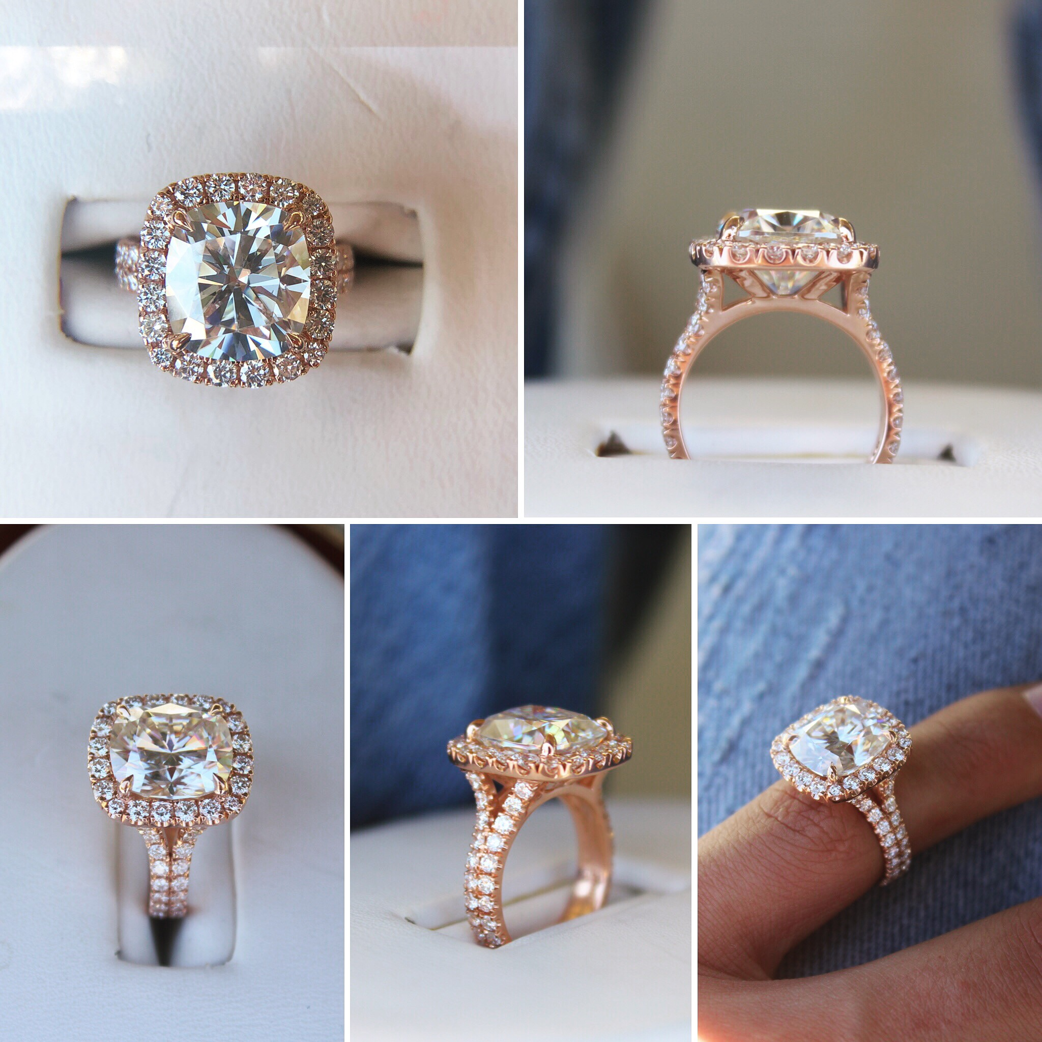 4.50 ct Elongated Cushion Moissanite & Wide Diamond Halo Split Shank Ring