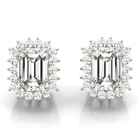 2.00 Carat Emerald Diamond & Halo Stud Earrings