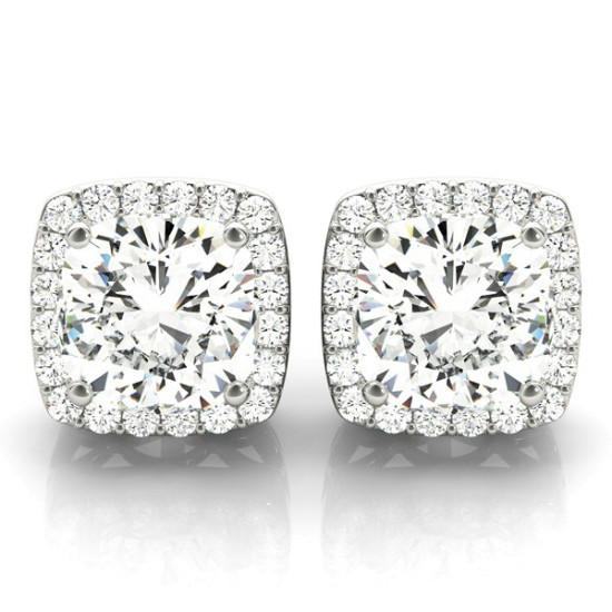 2 Carat Cushion Diamond & Halo Stud Earrings