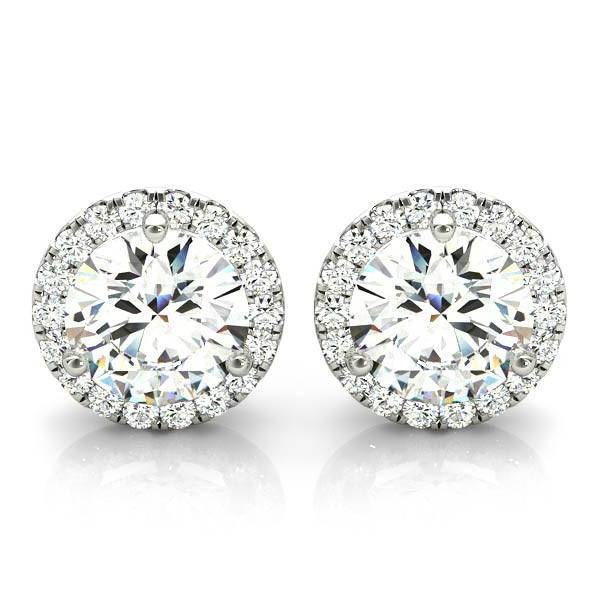 1.00 ctw Diamond & Halo Stud Earrings