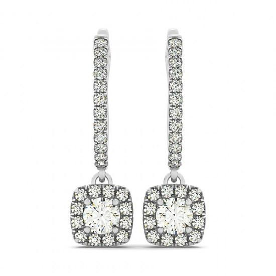 2 Carat Forever One Moissanite & Diamond Dangle Earrings