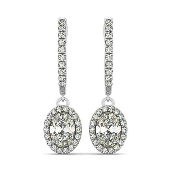 1.50 ct Oval Diamond & Halo Dangle Earrings