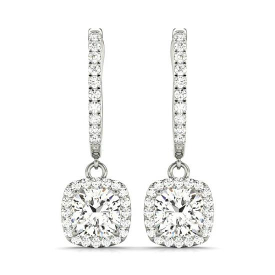 1.50 Carat Cushion Diamond & Halo Dangle Earrings