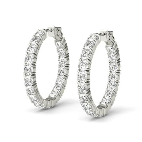 4.40 Carat Diamond Hoop Earrings (22mm)