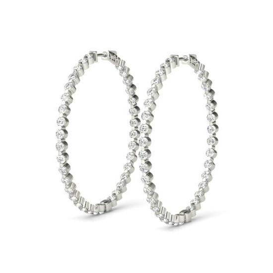 2.60 Carat Diamond Shared Prong Hoop Earrings (37mm)
