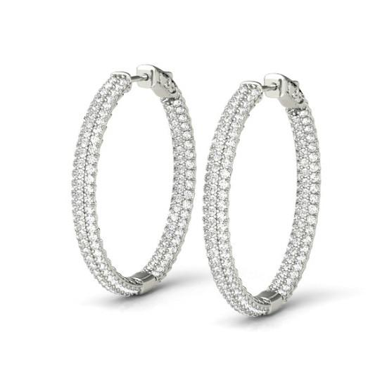 3.40 Carat Diamond Pave Inside Out Hoop Earrings (28mm)