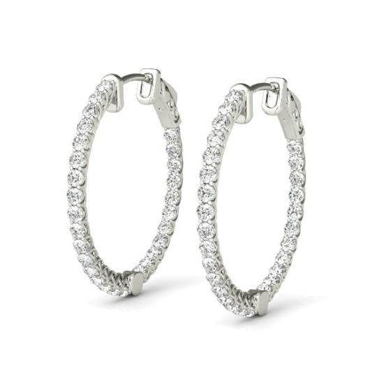 2.20 Carat Diamond Hoop Earrings (26mm)