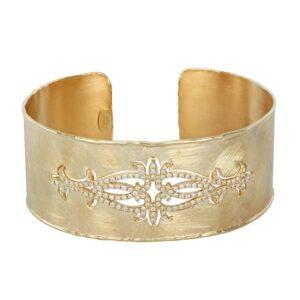 Diamond Filigree Bangle 14k Yellow Gold