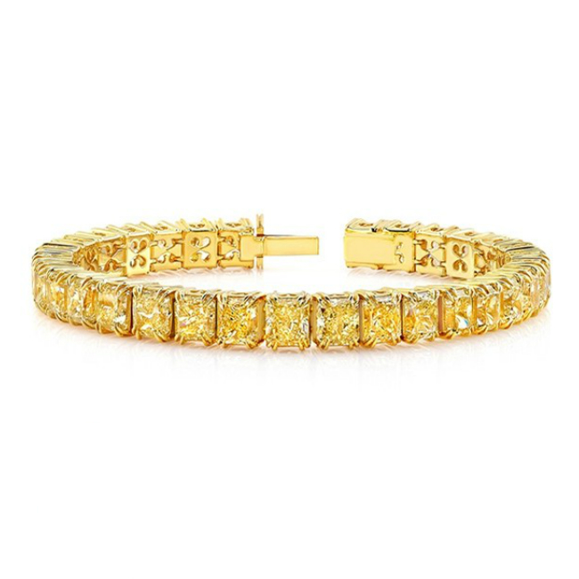 46 Carat Radiant Yellow Diamond Tennis Bracelet