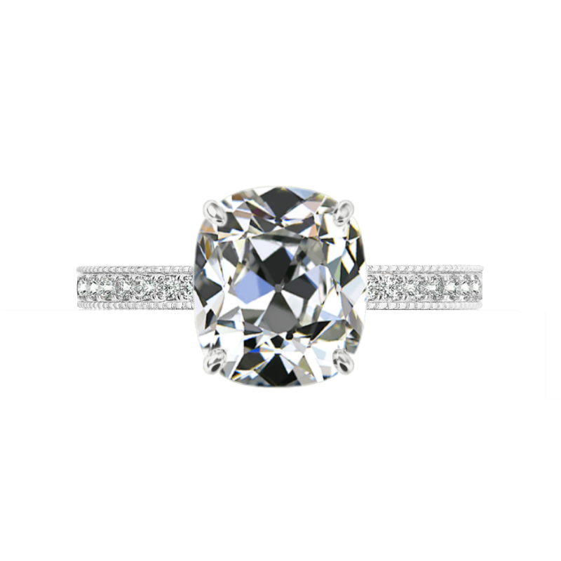 5 ct Antique Cushion Moissanite & Diamond Bright Cut Pave Ring
