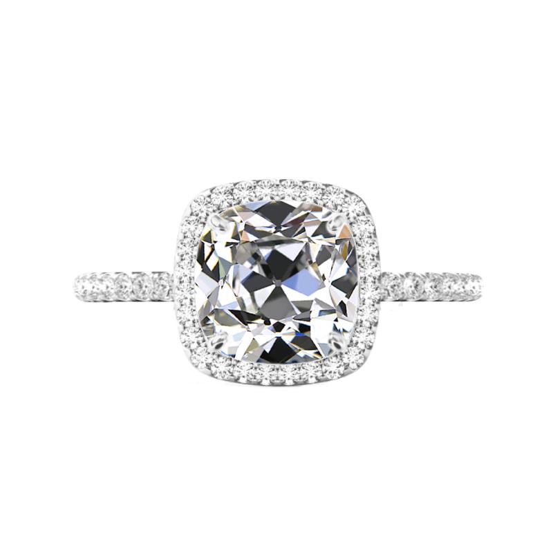 5 Carat Old Mine Cushion Moissanite & Diamond Halo Ring