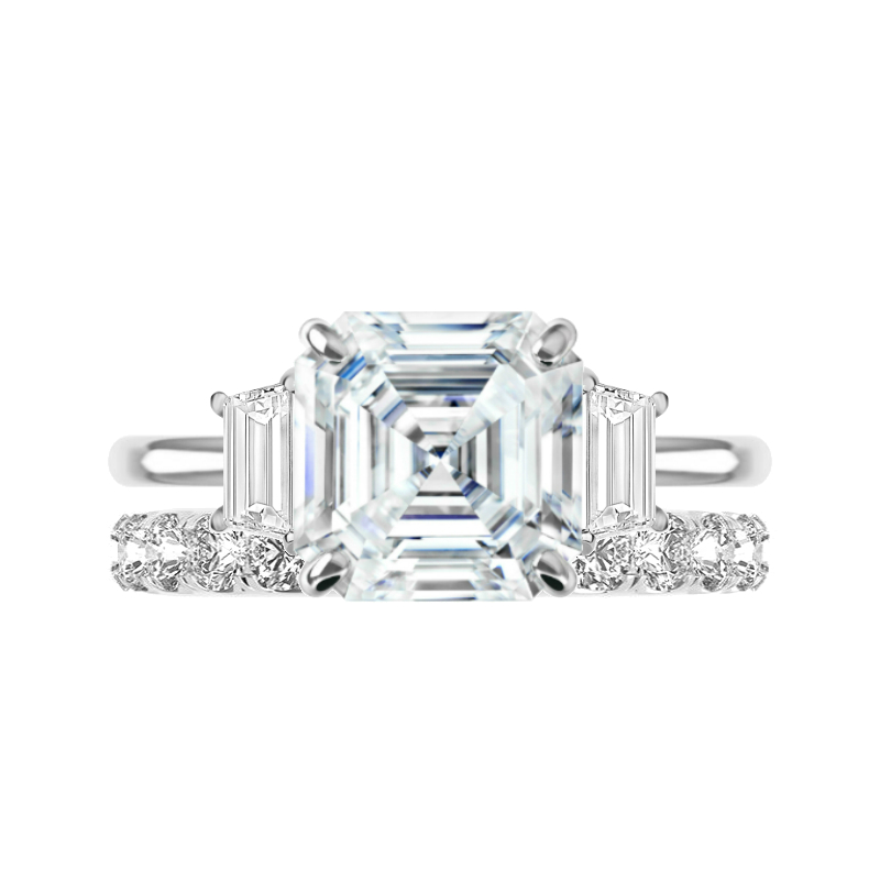 5 Carat Asscher Moissanite Solitaire & 3mm Diamond Eternity Band Set