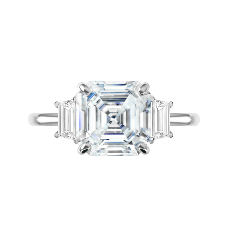 5 Carat Asscher Moissanite & Trapezoid Diamond Ring