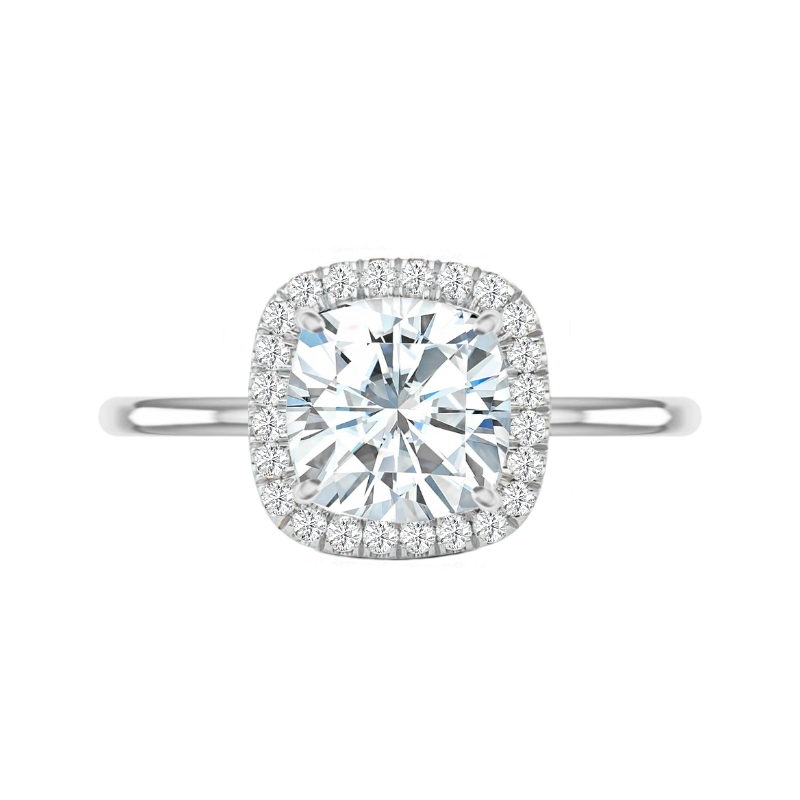 5 Carat Cushion Moissanite & Diamond Double Edge Halo Solitaire