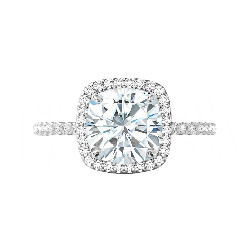 5 Carat Cushion Moissanite & Diamond Halo Ring