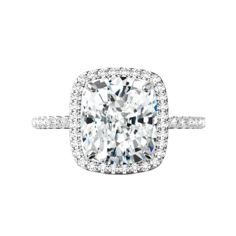 5.70 ct Elongated Cushion Moissanite & Diamond Halo Ring