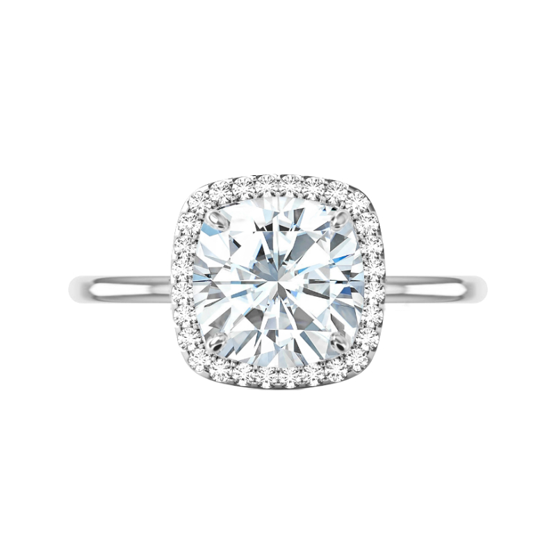 5 Carat Cushion Moissanite & Diamond Halo Solitaire Ring