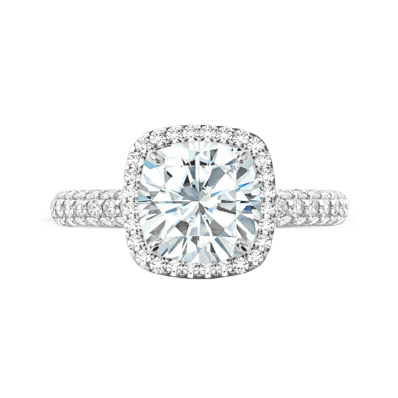 5 Carat Cushion Moissanite & Diamond Three Row Ring