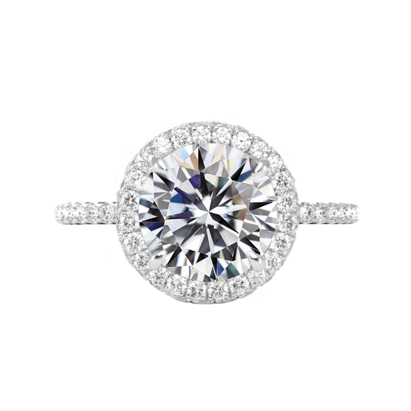 5 Carat Round Moissanite & Diamond Double Edge Halo Ring