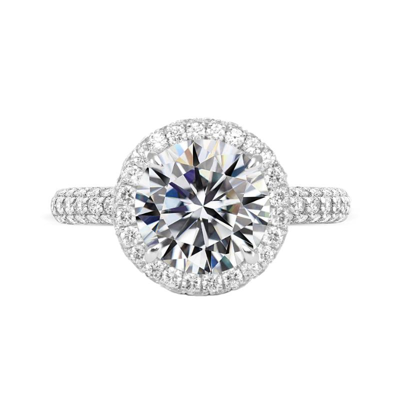 5 ct Round Moissanite & Diamond Double Edge Halo Three Row Ring