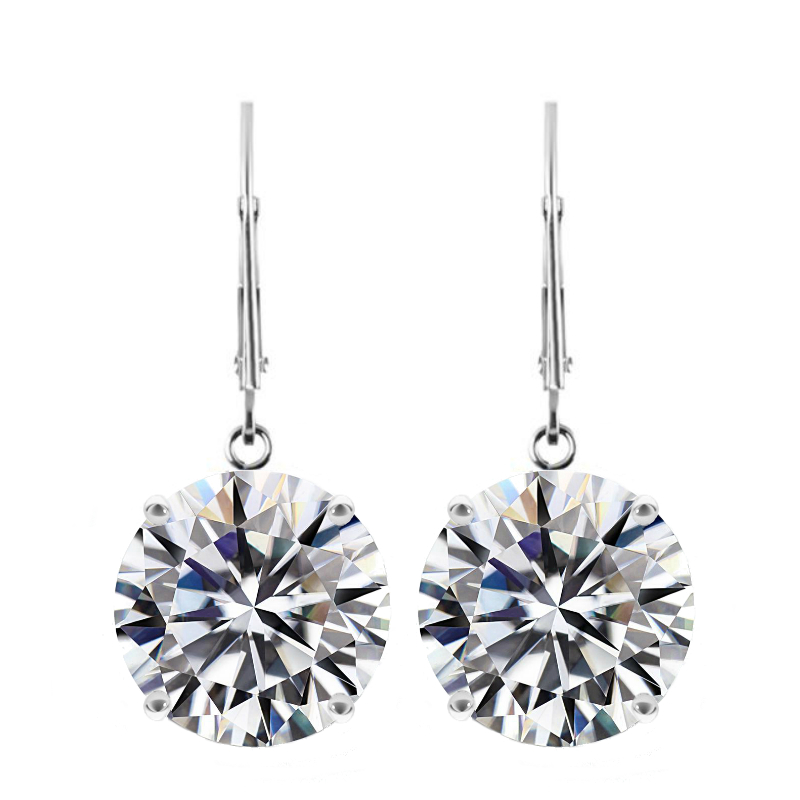 10 ctw Round Moissanite Dangle Leverback Earrings