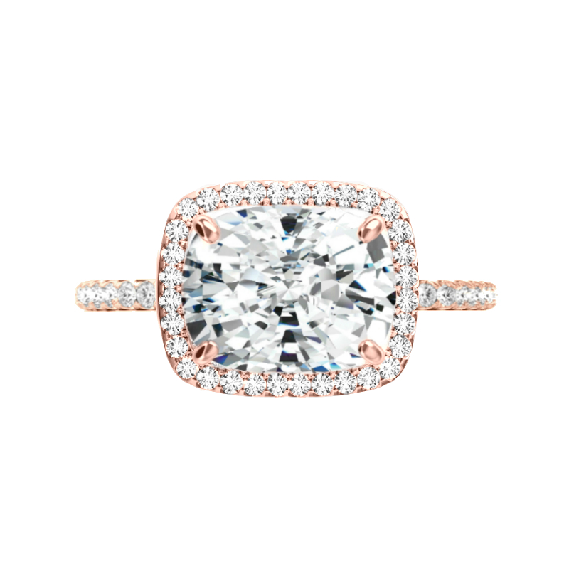 5 Carat Elongated Cushion Moissanite & Diamond Halo East West Ring