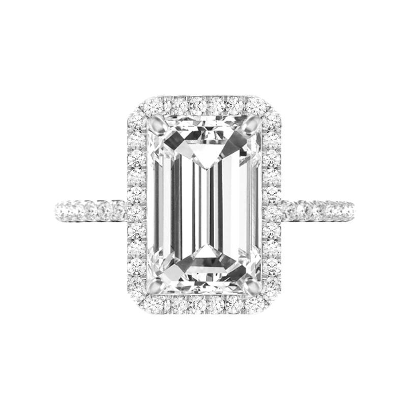 5 Carat Elongated Emerald Moissanite & Diamond Double Edge Halo Ring